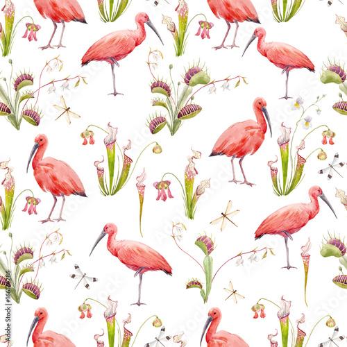 Canvas Prints Flamingo Bird Watercolor tropical pattern