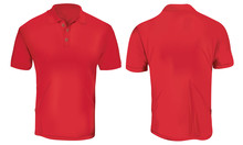 Vector Illustration Of Blank Red Polo T-shirt Template,  Front And Back Design Isolated On White