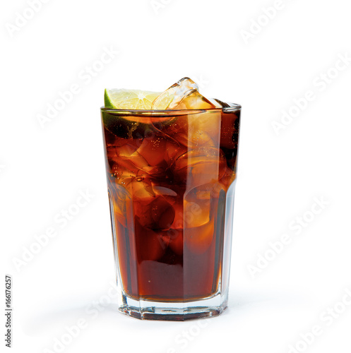 Photo Whiskey Cola in the glass without a straw