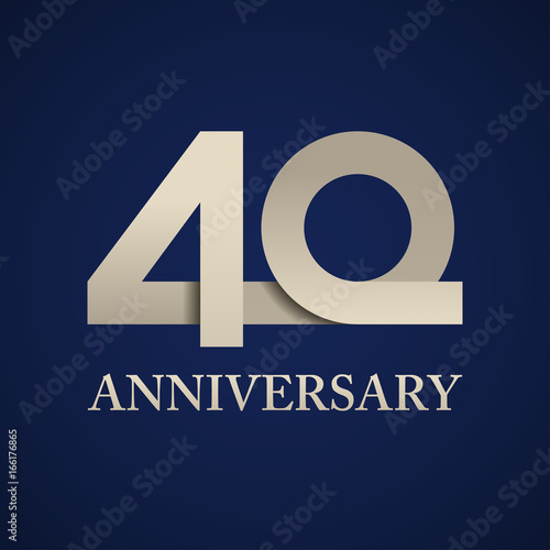 Poster  40 years anniversary paper number vector