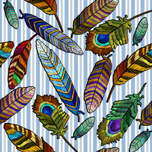 Color Feathers Embroidery Seamless Pattern. Beautiful Tropical Peacock Feathers Embroidery, Hand Drawn Fashion Template For Clothes, Textiles, T-shirt Design