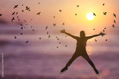 Freedom And Feel Good Concept Copy Space Of Silhouette Happy Man