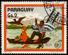 Finn And Joe At Sinking Riverboat On Postage Stamp
