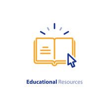 Internet Educational Resources, Online Learning Courses, Open Library, Dictionary Line Icon