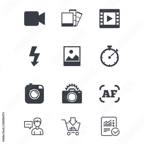 Photo, video icons. Camera, photos and frame signs. Flash, timer and ...