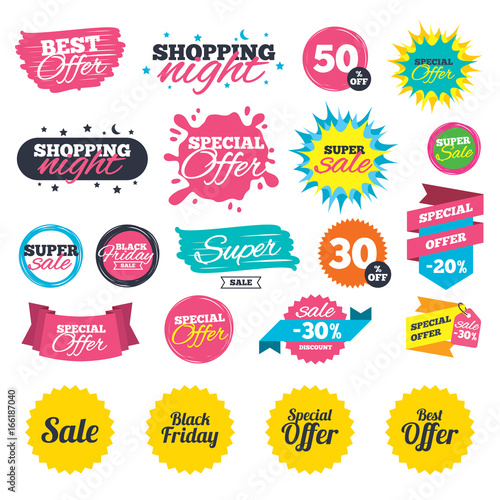 Sale shopping banners sale icons best special offer symbols black friday sign