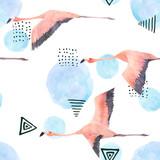 Abstrakcjonistyczny druk z akwarela przypadkowymi elementami i flamingiem. Bezszwowy wzór w retro stylu. Ręcznie rysowane ilustracja - 166187449