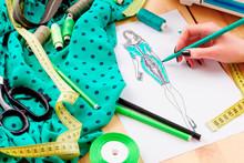 Sewing Concept. Dressmaker
