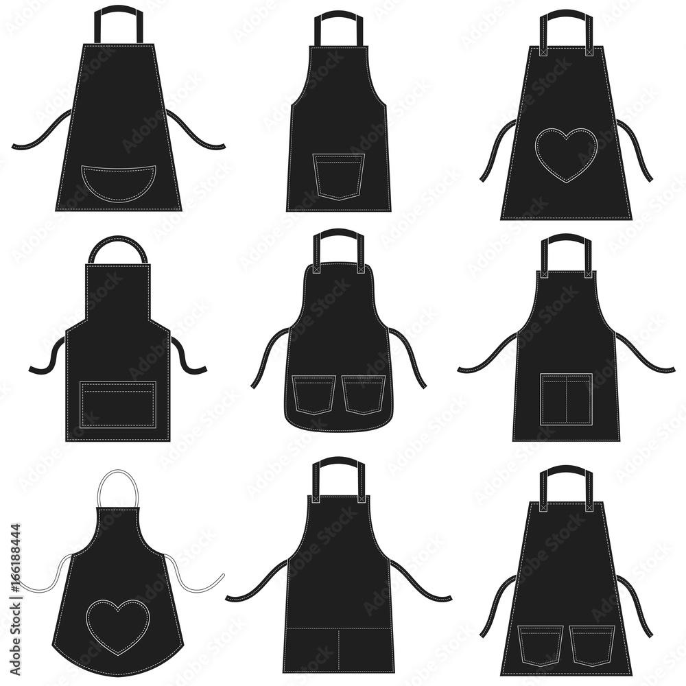 Fototapeta black apron set isolated on white