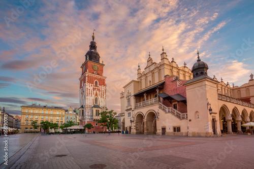 Fototapeta Krakow. Image of Market square Krakow, Poland during sunrise. obraz