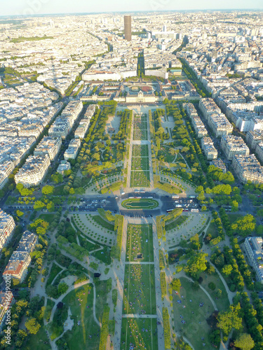 Photo  View over Paris, Parc du Champ de Mars, seen from Eiffel Tower