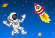 Astronaut trifft einen Außerirdischen in einem Raumschiff im Weltall