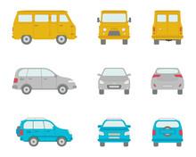 Cartoon Vector Cars In Flat Style