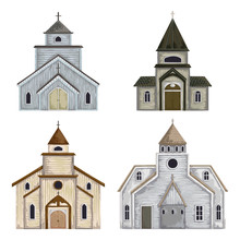 Church Buildings Set. Isolated Elements On White Background. Vintage Vector Illustration In Watercolor Style