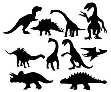Set Of Dinosaurs Silhouettes I...