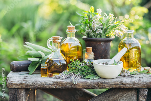 Photo  Fresh herbs from the garden and the different types of oils for massage and aromatherapy