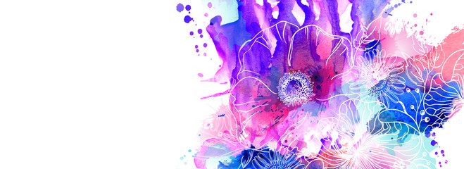 Hand drawn floral illustrations. Abstract pink, purple and blue watercolor blots spread on the white background with flowers branch and poppies.