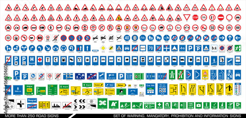 Obraz More than 250 road signs. Collection of warning, mandatory, prohibition and information traffic signs. European traffic signs collection. Vector illustration.  - fototapety do salonu