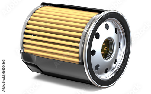 Obraz OIL FILTER HALF CUT, 3D render, isolated on white background - fototapety do salonu