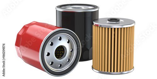 Fotografía  Three oil filter, 3d illustration, 3D render, isolated on white background