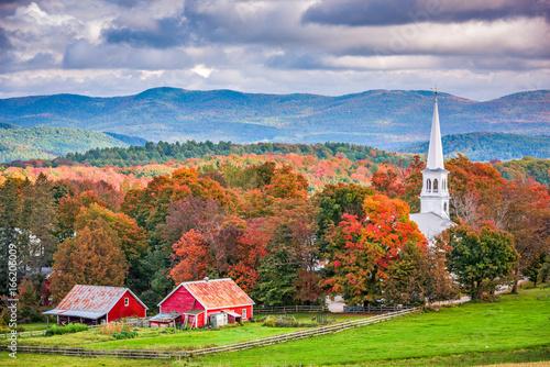 Aluminium Prints Autumn Peacham, Vermont, USA town landscape during autumn.