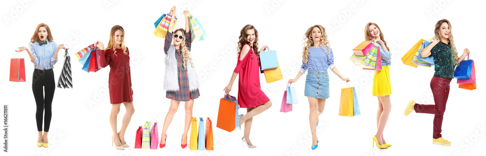 Fototapety, obrazy: Beautiful women with shopping bags on white background