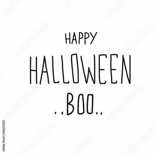 Fényképezés  Happy Halloween Boo word handwriting vector illustration