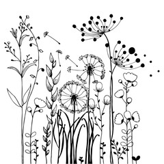 NaklejkaFlowers and Grass on White Collection. Rustic colorful meadow growth illustration set.