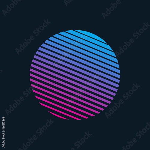Vector 80s Retro Style Striped Shape. Minimalism Art Illustration Canvas Print