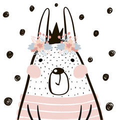 Naklejka Popularne Cute cartoon rabbit girl with crown in scandinavian style. Childish print for nursery, kids apparel,poster, postcard. Vector Illustration