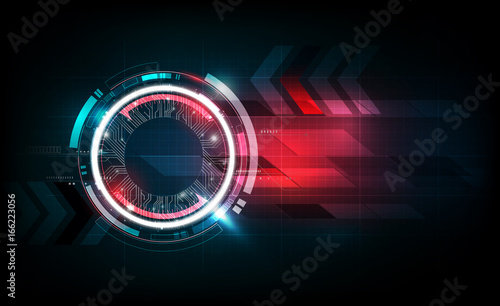 Obraz Abstract futuristic electronic circuit technology background, vector illustration - fototapety do salonu