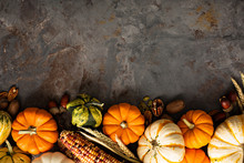 Fall Copy Space With Pumpkins And Corn