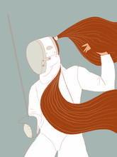 Fencer With Long Hair