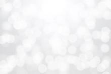 White Bokeh Lights On Gray Background