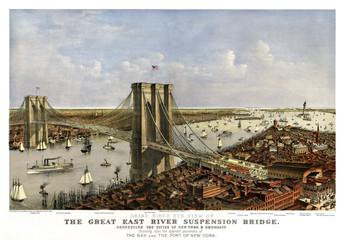 Fototapeta Vintage Brooklyn Bridge, New York, Old aerial view of. Currier & Yves, New York, 1885.