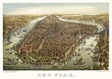 New York old aerial view. By Geroge Schlegel. Publ. Geo. Degen, New York, 1873 - 166227833