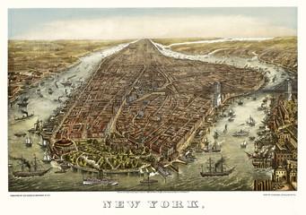 FototapetaNew York old aerial view. By Geroge Schlegel. Publ. Geo. Degen, New York, 1873