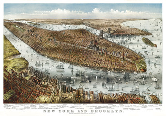 Fototapeta Nowy York New York, old aerial view. By Parsons & Atwater, publ. Currier & Yves, New York, 1875