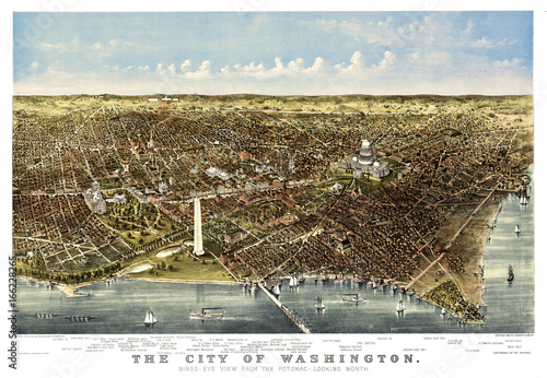 Washington Old aerial view from the Potomac. Currier & Yves, New York, 1892