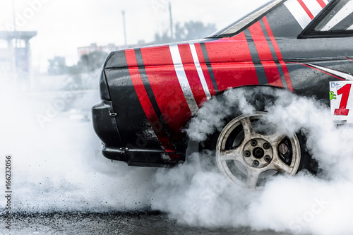 Photo Stands Motor sports racing car drifting
