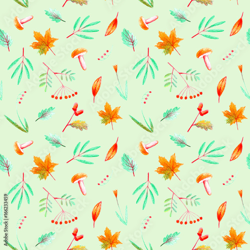 Cotton fabric Seamless pattern of a flower, plants, rowan,acorn,maple and mushroom. Autumn and herbs image. Watercolor and pencil color hand drawn illustration.Green background.