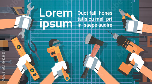 Hands Holding Tools Repair And Construction Working Equipment Over Copy Space Flat Vector Illustration