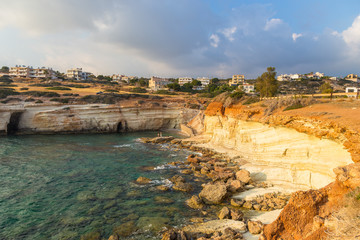 Fototapeta na wymiar Sunset off the coast of Paphos, Cyprus
