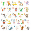 Cartoon cute animals alphabet letters for children school, preschool education.