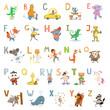 Cartoon cute animals alphabet letters for children school, preschool education.