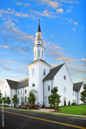 White Christian Catholic Baptist Church at Sunrise with tower and cross, Religion, God, Steeple