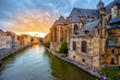 canvas print picture - Ghent's old city center scenic place - Ghent, Belgium