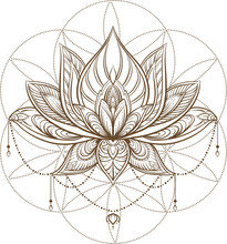 Filigree Lotus Flower On Sacred Geometry Sign, Vector Handdrawn Illustration