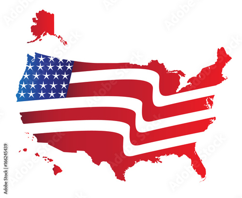 Usa Map American Flag Colors Illustration Icon Vector Image Logo - American-flag-us-map