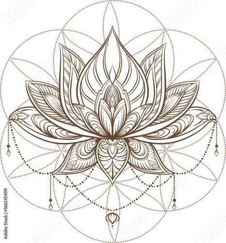 Filigree lotus flower on sacred geometry sign, vector handdrawn illustration Tableau sur Toile